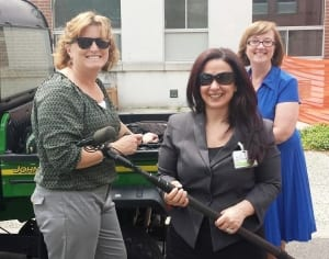 Photo (L to R), Visionaries Elizabeth Turner and Wartburg's Angela Ciminello and Ann Frey, get ready for a day of shooting.